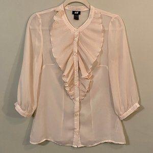 H&M Top Vintage Style Cream Soft Size 8